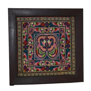 Late 20th Century Embroidered Framed Textile For Sale