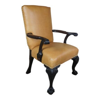 Antique 19th C English Chippendale Arm Chair Carved Mahogany Leather Ball Claw For Sale