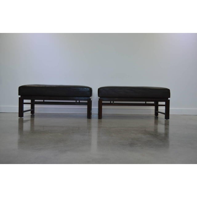 Mid-Century Modern Leather Benches: Edward Wormley for Dunbar 1940s - a Pair For Sale - Image 3 of 10
