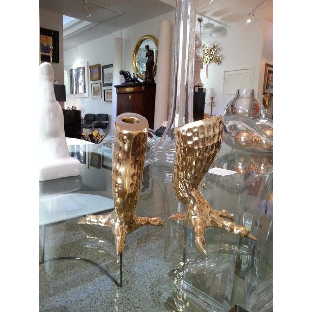 Gothic Brass Eagle Talon Candlesticks 1960s Italy - a Pair For Sale - Image 3 of 11