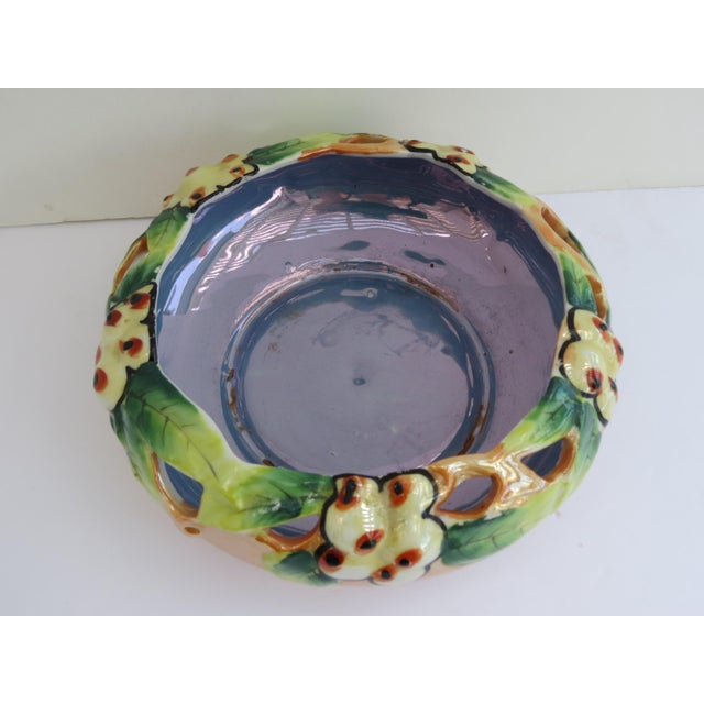 Art Deco Lusterware Floral Planter Bowl For Sale - Image 3 of 5