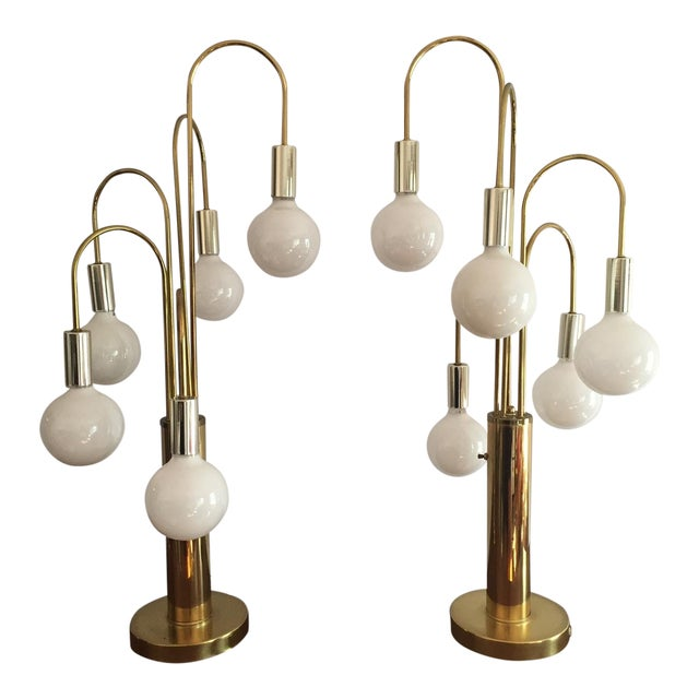Mid-Century Brass Waterfall Table Lamps - A Pair - Image 1 of 11