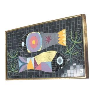 "Modern Mosaic Glass Tiles Wall Art Fish Signed ""Jk"" Jennifer Kuhns For Sale"