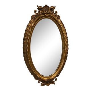 Over 5' Tall Full Length 1940s Antique Solid Gilt Wood Oval Hand Carved Mirror For Sale