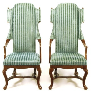 Pair of Tall Wing Chairs in Cut Velvet With Brass Finials by Jim Peed Preview