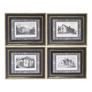 Framed Black & White Prints of English Buildings - Set of 4 For Sale