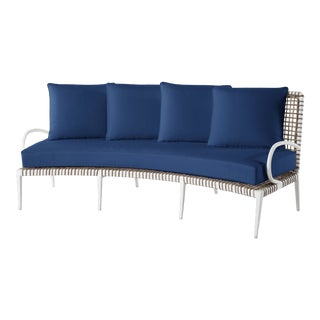 Delta Omega Curved Sofa in Pacific Blue For Sale