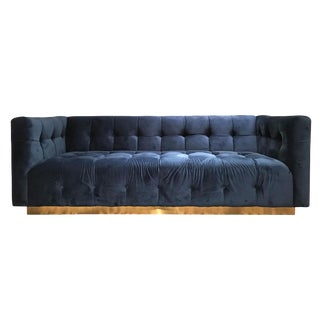 Tufted Velvet Brass Plinth Sofa Milo Baughman Style For Sale