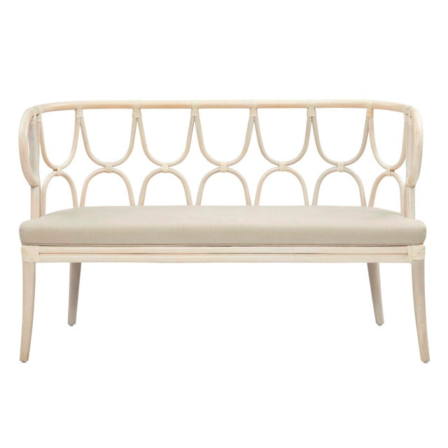 Simone Bench, Linen, Rattan For Sale - Image 4 of 4
