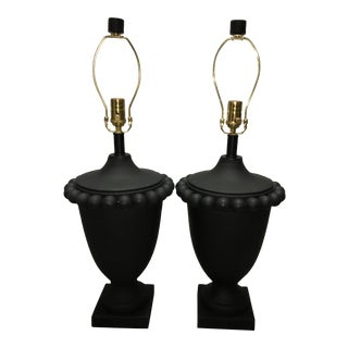 Liz Marsh Designs Custom Matte Black Lamps - a Pair For Sale