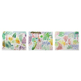 English Garden Set of Three Watercolor Paintings Original. For Sale