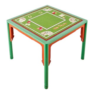 Mid-Century Baker Trompe l'Oeil Needlepoint Poker Games Table For Sale
