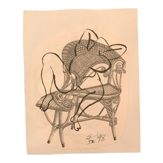 1990s Posing Female Nude on a Victorian Wicker Chair Mixed Media Drawing For Sale
