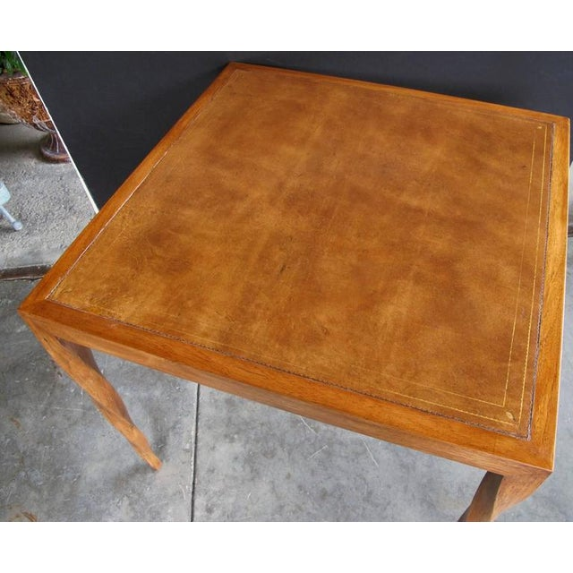 Rare American 1940s Square Game Table with Inset Leather Top by Johan Tapp - Image 1 of 4