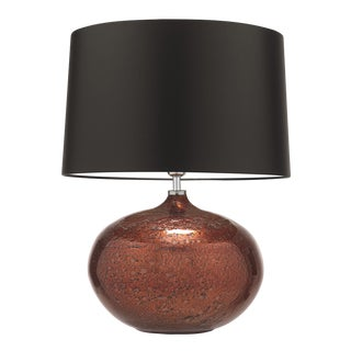 Copper Glass Table Lamp With Shade For Sale