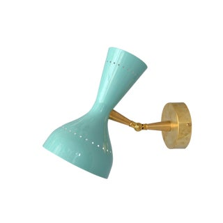 Diabolo Sconce in the Style of Stilnovo in Turquoise For Sale