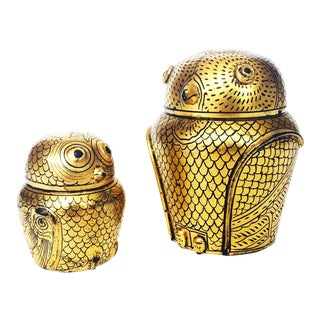 Vintage Black and Gold Lacquerware Owl Boxes - A Pair