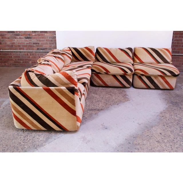 1970s sectional sofa composed of five modules with chevron / linear pattern that can be arranged in a variety of...
