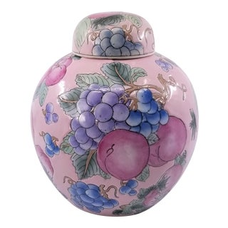 Vintage Asian Pink Chinese Porcelain Ginger Jar Famille Rose Glaze - Mid Century Chinoiserie For Sale