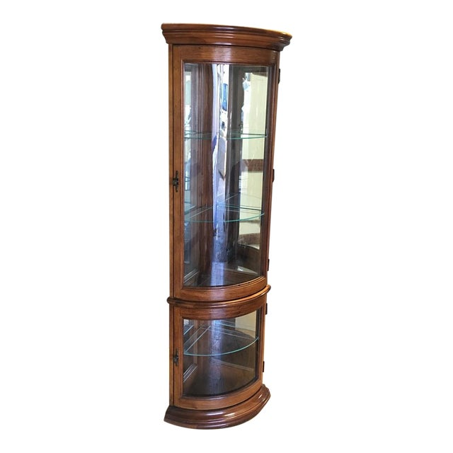 Solid Wood Corner Curio Cabinet With Glass Doors - Image 1 of 10