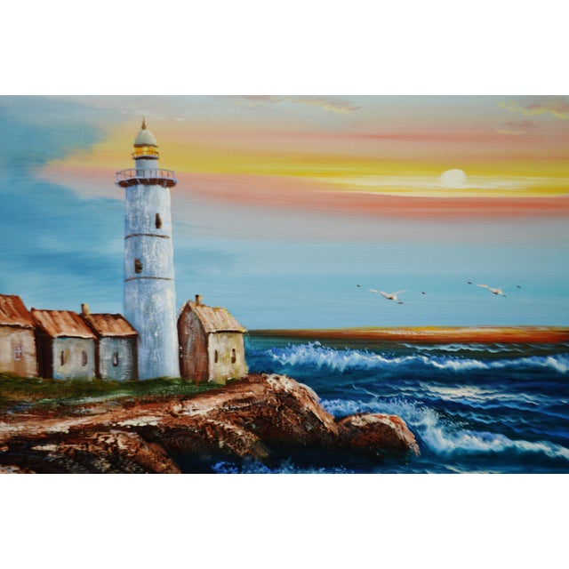 Vintage Framed Nautical Lighthouse Seascape Oil on Canvas - Artist Signed For Sale - Image 4 of 12