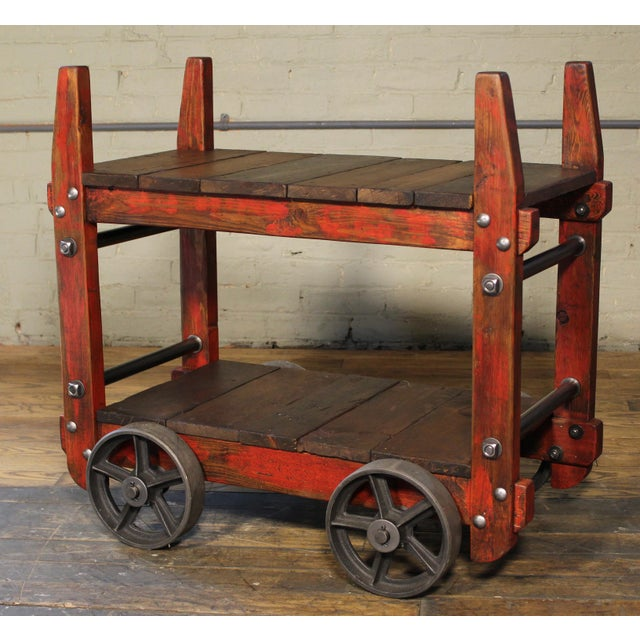 Industrial Industrial Bar Cart For Sale - Image 3 of 12