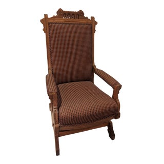 19th Century Eastlake Platform Upholstered Rocking Chair For Sale