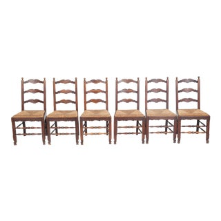 Set of 7 Louis XV French Ladder Back Dining Chairs With Cane Seats For Sale
