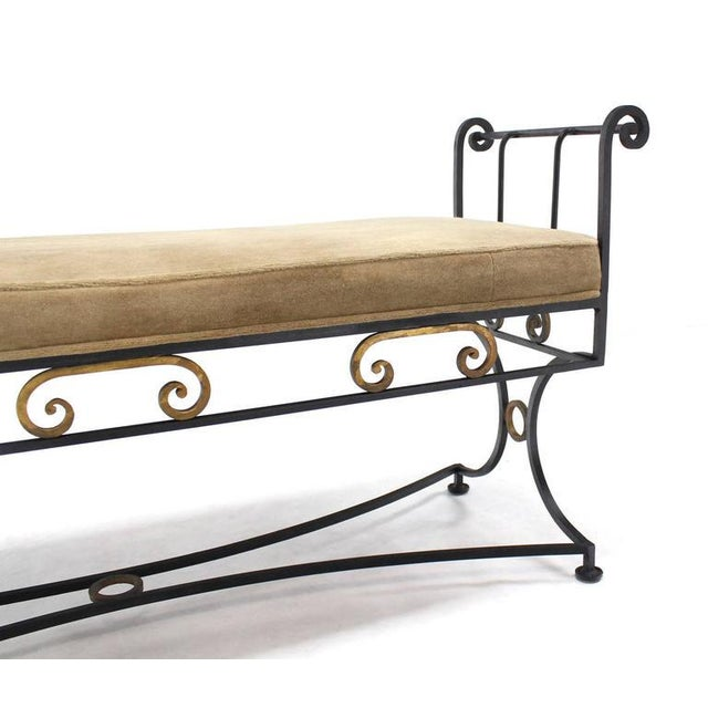 Hollywood Regency Wrought Iron Fine Ornate Design Hollywood Regency Window Bench New Upholstery For Sale - Image 3 of 6