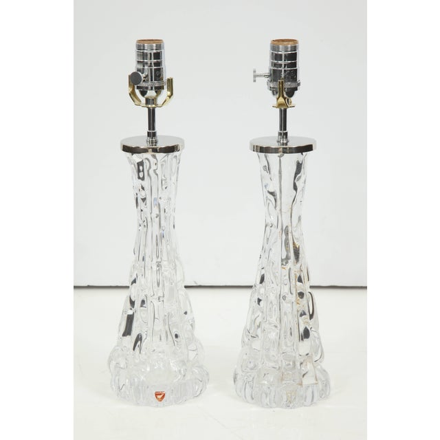 Orrefors Crystal Lamps - A Pair For Sale - Image 10 of 11