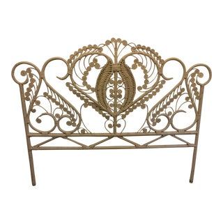 Vintage Boho Chic White Peacock Queen Size Headboard For Sale