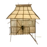 Image of Capiz Shell & Brass Pagoda Table Lamp For Sale