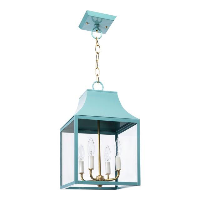 Lantern & Scroll Lora Gray Collection Hanging Lantern, Blue For Sale