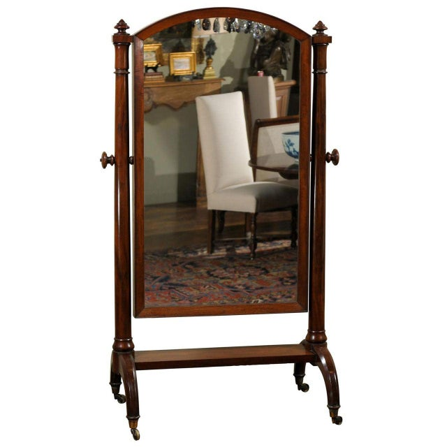 Scottish 1820s Mahogany Free Standing Tilting Cheval Mirror with Crescent Legs For Sale - Image 11 of 11