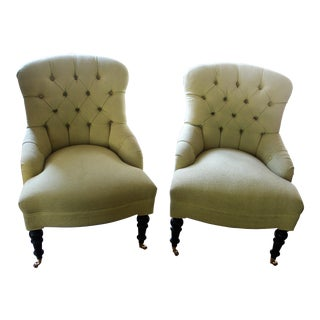 Transitional Mitchell Gold Glorietta Green Tufted Wingback Chairs - a Pair For Sale