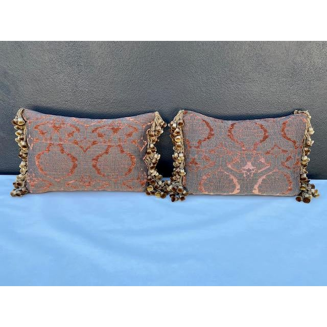 Traditional Chenille and Metal Thread Pillows - a Pair For Sale - Image 9 of 9