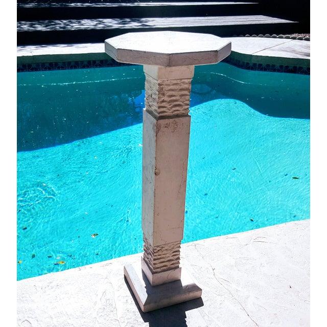 1990s Modern Botticino Italian Marble Pedestal For Sale - Image 5 of 5