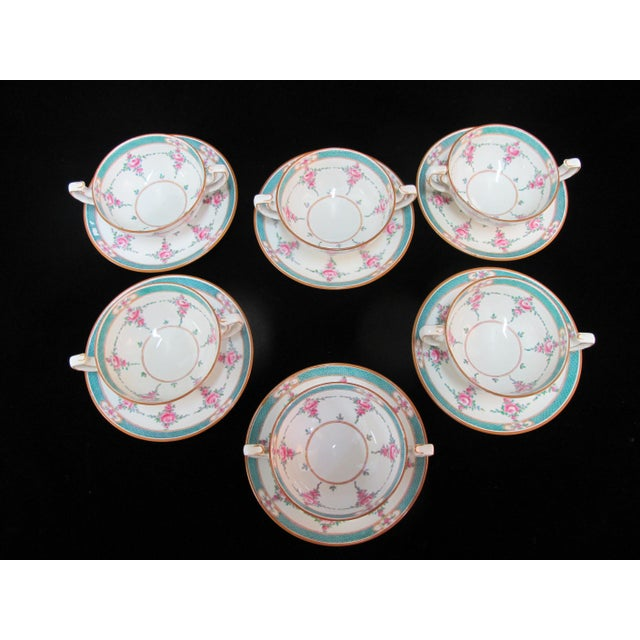 Stunning Minton 12 piece china bouillon soup cup and saucer set (6 cups, 6 saucers) in Persian Rose pattern. Green lattice...