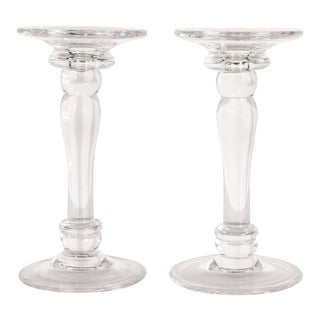 Mid-Century Modern Translucent Glass Doric Column Candlesticks For Sale