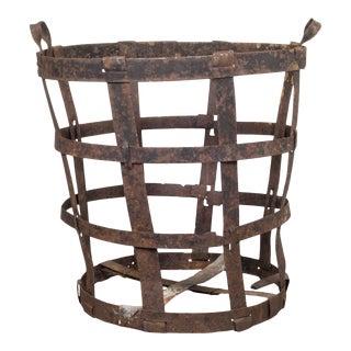 Antique Factory Steel Band Basket C.1880-1920 For Sale
