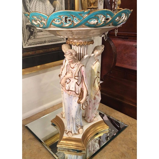 Figurative Rare Antique Copeland Porcelain Figural Centerpiece W Three Angels For Sale - Image 3 of 6