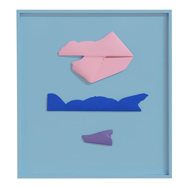 """Jaena Kwon """"Seascape"""" Minimal Abstract Colorful Acrylic Shapes Artwork in Frame For Sale"""