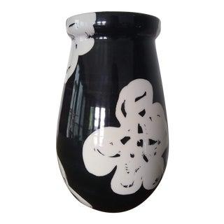 1960s Italian Bitossi Floral Black & White Hand Glazed Ceramic Vase