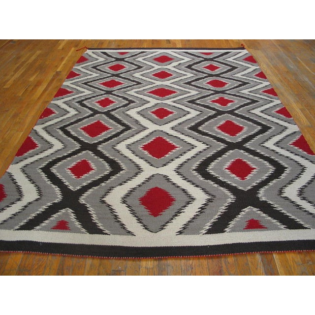 Gray & Black Navajo Style Wool Rug - 6′ × 9′ For Sale - Image 4 of 4