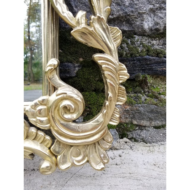 Gold Vintage Brass Chippendale Style Ho Ho Bird Mirror For Sale - Image 8 of 13