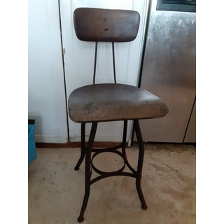 19th Century Vintage French Drafting Wood and Iron High Stool Preview