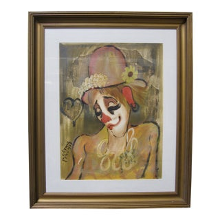 1960s Vintage Original Roger Etienne French Female Clown Signed Painting For Sale