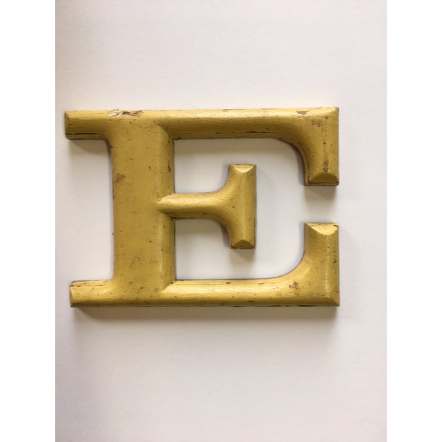 """Yellow 1940s French Letter """"E"""" Sign For Sale - Image 8 of 8"""
