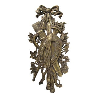 Mark Roberts Gold Horn & Foliage Wall Hanging For Sale