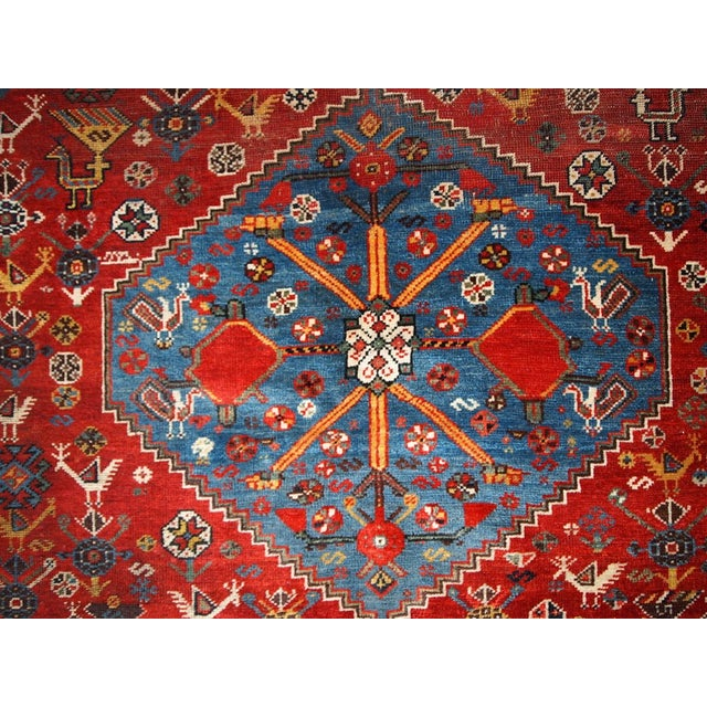 Country 1870s Hand Made Antique Collectible Persian Khamseh Rug 6.4' X 9.9' For Sale - Image 3 of 10